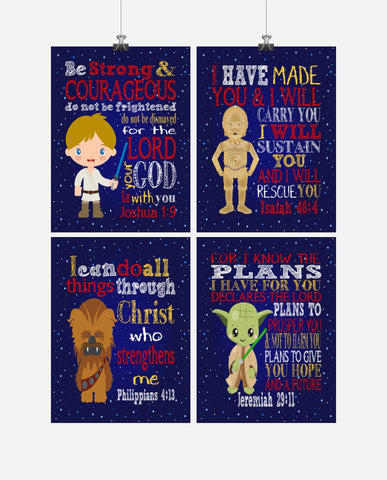 Star Wars Nursery Decor Art Set of 4 Prints - Luke Skywalker, Chewbacca, C3PO and Yoda