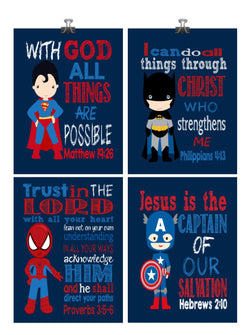 Superhero Christian Nursery Decor Art Print Set of 4 - Superman, Batman, Spider-Man and Captain America