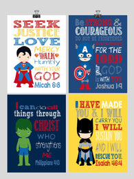 Set of 4 - Superhero Wall Art - Christian Print Captain America, Hulk, Batman, Superman - Nursery Decor