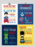 Superhero Christian Nursery Decor Set of 4 Prints - Batman, Captain America, Superman and Hulk