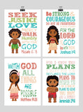 Moana Christian Nursery Decor Wall Art Set of 4 Prints - Moana, Tui, Maui and Sina