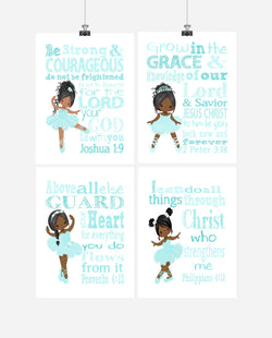 African American Ballerina Christian Nursery Decor Wall Art Set of 4 Prints with Bible Verses
