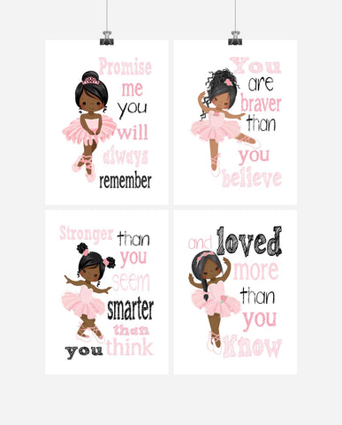 African American Ballerina Motivational Nursery Decor Set of 4 Prints Promise Me You will Always Remember