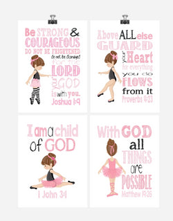 Ballerina Christian Nursery Decor Wall Art Set of 4 Prints - Bible Verse - Multiple Sizes