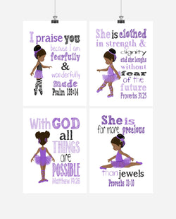 African American Ballerina Christian Nursery Decor Wall Art Set of 4 Prints