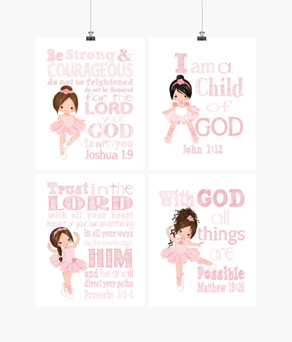 Ballerina Christian Nursery Decor Set of 4 Prints in Pink