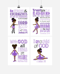 African American Ballerina Christian Nursery Decor Set of 4 Prints in Purple
