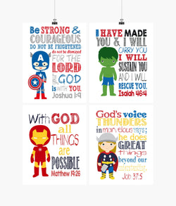 Superhero Christian Nursery Set of 4 Prints Captain America, Iron Man, Thor and Hulk
