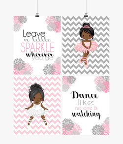 African American Ballerina Motivational Nursery Decor Wall Art Set of 4 Prints Leave a little Sparkle Wherever You Go