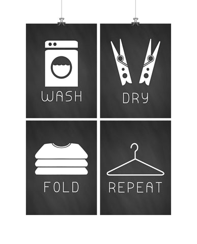 Laundry Minimalist Art Print Set of 4 - Chalkboard Wash, Dry, Fold, Repeat