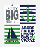 Nautical Nursery Decor Set of 4 Art Prints - Dream Big Little One