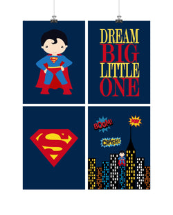 Superhero Set of 4 Nursery Prints - Superman, Dream Big Little One