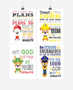 Paw Patrol Christian Nursery Decor Set of 4 Prints, Chase, Marshall, Rocky and Zuma with Bible Verses