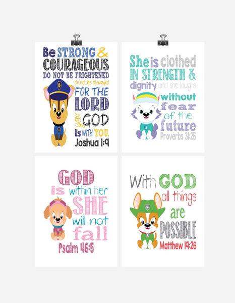 Paw Patrol Nursery Decor Art Print Set of 4 - Chase, Everest, Tracker and Skye with Bible Verses