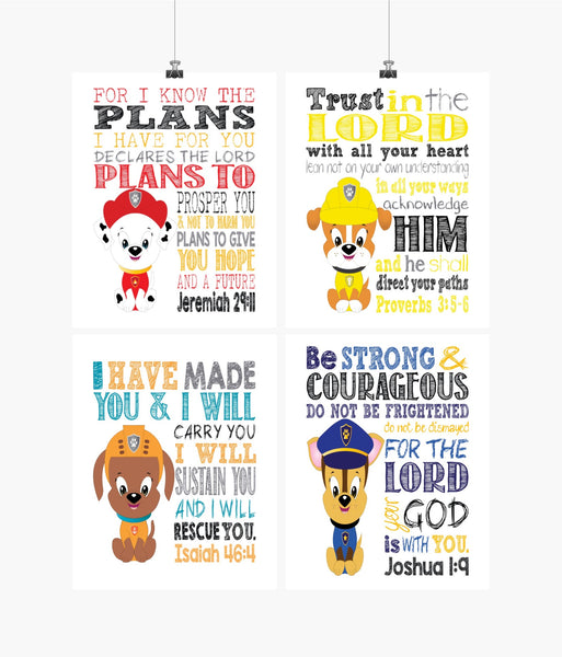Paw Patrol Christian Nursery Decor Set of 4 Prints, Chase, Marshall, Zuma and Rubble with Bible Verses