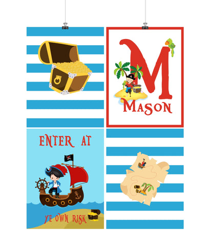 Personalized Pirate Little Boys Room Set of 4 Prints Enter At Ye Own Risk
