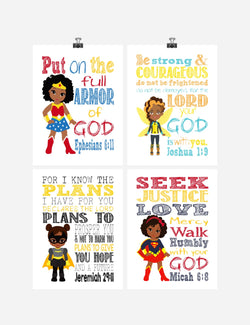 African American Christian Superhero Nursery Decor Wall Art Set of 4 Prints - Wonder Woman Supergirl Batgirl and Bumblebee