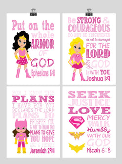 Christian Superhero Nursery Decor Art Set of 4 Prints - Supergirl, Batgirl, Wonder Woman