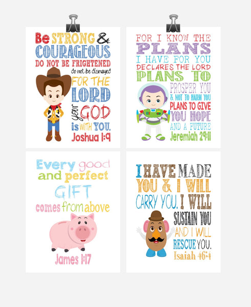 Toy Story Christian Nursery Decor Set of 4 Prints, Woody, Buzz Lightyear, Mr. Potato Head and Hamm