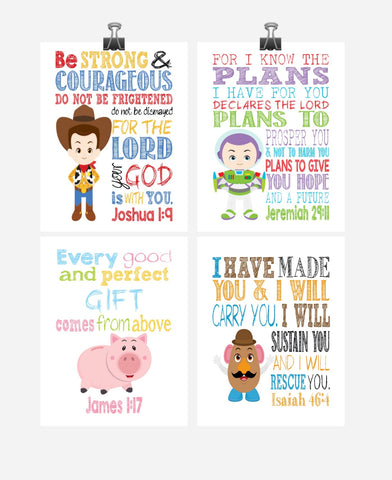 Christian Toy Story Nursery Decor Art Print Set of 4 - Woody, Buzz Lightyear, Mr. Potato Head and Hamm
