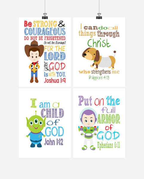 Toy Story Christian Nursery Decor Set of 4 Prints, Woody, Buzz Lightyear, Slinky Dog and Alien