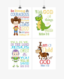 Toy Story Christian Nursery Decor Set of 4 Prints, Woody, Buzz Lightyear, Rex and Bullseye