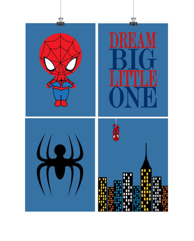 Set of 4 - Super Hero Spiderman Wall Art Prints, Spiderman, Cityscape, Dream Big Little One - Nursery Prints