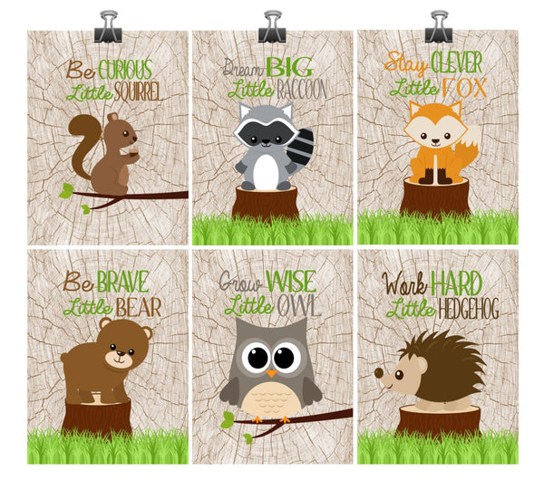 Woodland Nursery Decor Set of 6 Prints, Squirrel, Raccoon, Fox, Bear, Owl,and Hedgehog - Motivational Quotes
