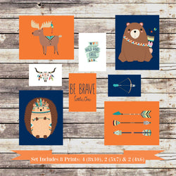 Woodland Tribal Nursery Decor Wall Art Set of 8 Prints Navy & Orange 4 - 8x10's, 2 - 5x7's and 2 - 4x6's prints - Moose, Bear and Hedgehog