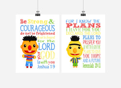 Sesame Street Christian Nursery Decor Set of 2 Prints, Bert and Ernie with Bible Verses