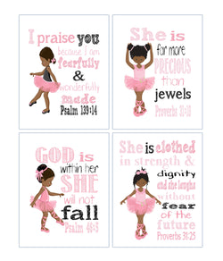 African American Ballerina Christian Nursery Decor Set of 4 Prints with Bible Verses in Pink