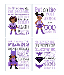 African American Superhero Christian Nursery Set of 4 Printable - Supergirl, Batgirl and Wonder Woman with Bible Verses Instant Download