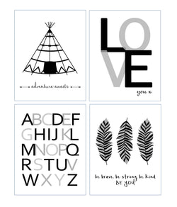 Tribal Black and White Monochrome Nursery Set of 4 Kids Minimalist Bedroom Decor Prints - Adventure Awaits, Love, Be Brave Be Strong