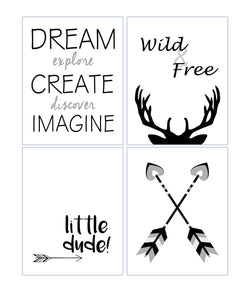 Wild and Free Black and White Monochrome Tribal Nursery Set of 4 Kids Minimalist Bedroom Decor Prints