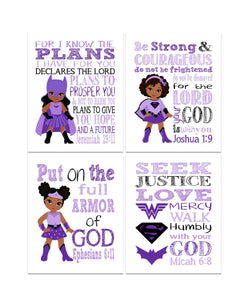 African American Superhero Christian Nursery Set of 4 Prints - Supergirl, Batgirl and Wonder Woman with Bible Verses