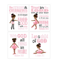 African American Ballerina Christian Nursery Decor Set of 4 Prints in Pink and Black with Bible Verses
