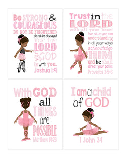 African American Ballerina Christian Nursery Set of 4 Printables in Pink and Black with Bible Verses - Instant Download