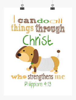 Slinky Dog Toy Story Christian Nursery Decor Print, I Can Do All Things Through Christ Philippians 4:13