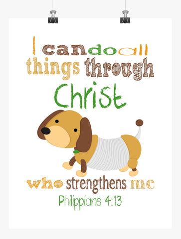 Slinky Dog Toy Story Christian Nursery Decor Art Print - I Can Do All Things Through Christ Who Strengthens Me - Philippians 4:13