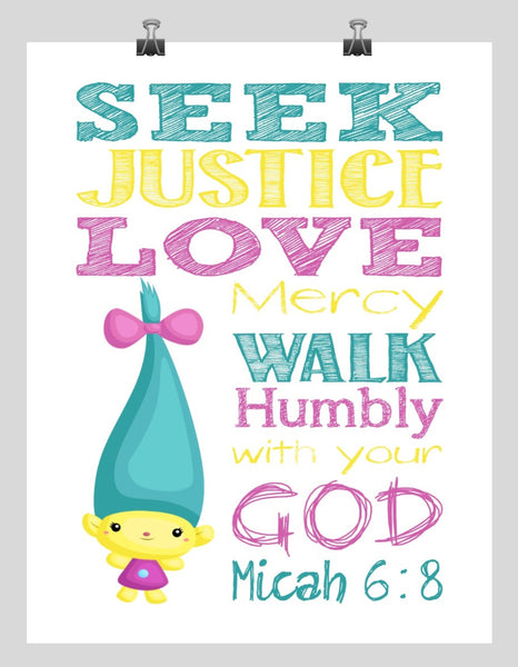 Smidge Trolls Christian Nursery Decor Print, Seek Justice Love Mercy Micah 6:8