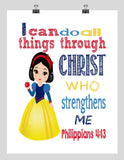 Snow White Christian Princess Nursery Decor Art Print - I Can Do All Things Through Christ Who Strengthens Me - Philippians 4:13