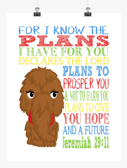 Snuffleupagus Sesame Street Christian Nursery Decor Print, For I Know The Plans I Have For You, Jeremiah 29:11