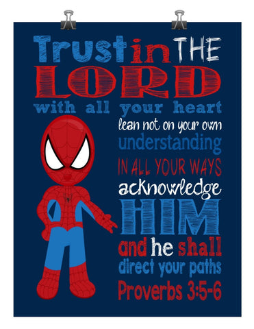 Spiderman Christian Superhero Nursery Decor Art Print - Trust in the Lord with all your heart - Proverbs 3:5-6 Bible Verse