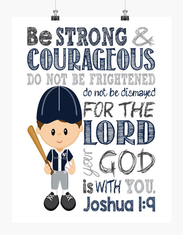 New York Yankees Personalized Christian Sports Nursery Decor Print - Be Strong & Courageous Joshua 1:9