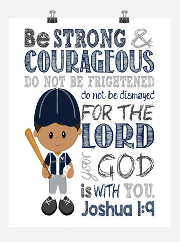 African American New York Yankees Personalized Christian Sports Nursery Decor Art Print - Be Strong & Courageous Joshua 1:9
