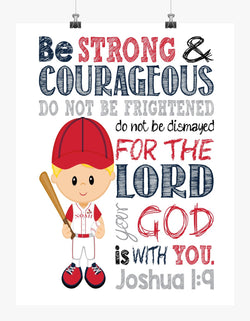 St. Louis Cardinals Personalized Christian Sports Nursery Decor Print - Be Strong & Courageous Joshua 1:9