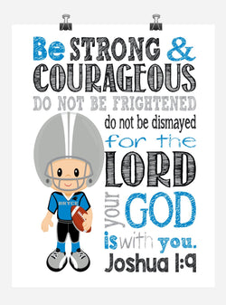 Carolina Panthers Customized Christian Sports Nursery Decor Art Print - Be Strong & Courageous Joshua 1:9 Bible Verse - Playroom or Kid's Room