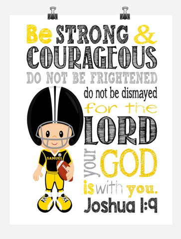 Pittsburgh Steelers Personalized Christian Sports Nursery Decor Print - Be Strong & Courageous Joshua 1:9