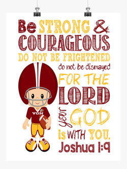 Washington Redskins Customized Christian Sports Nursery Decor Art Print - Be Strong & Courageous Joshua 1:9