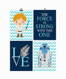 Star Wars Nursery Decor Set of 4 Prints, The Force is Strong with this One, Love, R2D2 and Luke Skywalker